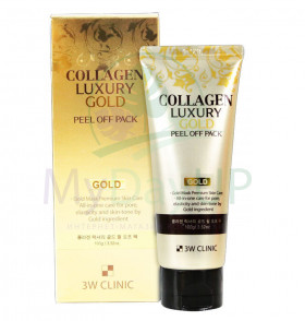 Маска-пленка для лица 3W CLINIC Collagen&Luxury Gold  peel off pack, 100 гр